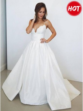 A-Line Spaghetti Straps Long Satin Wedding Dress with Lace