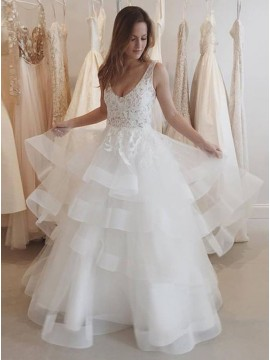 A-Line Scoop Floor Length Backless Tiered Wedding Dress with Lace