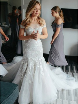 Mermaid Off-the-Shoulder Court Train Tulle Wedding Dress with Appliques