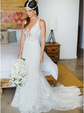Mermaid Deep V-neck Court Train Lace Sexy Beach Wedding Dress