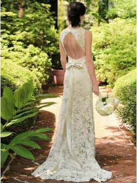 Sheath V-Neck Open Back Elegant Ivory Long Wedding Dress with Sashes