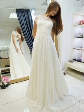 A-Line Bateau Short Sleeves Lace-Up Chiffon Wedding Dress with Lace