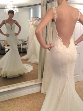 Mermaid Straps Backless White Tulle Wedding Dress with Lace