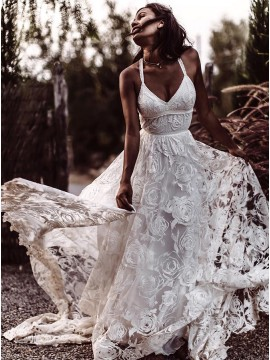 A-Line Spaghetti Straps Backless Court Train Lace Beach Wedding Dress
