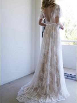 A-Line V-Neck Sweep Train Light Champagne Lace Boho Wedding Dress