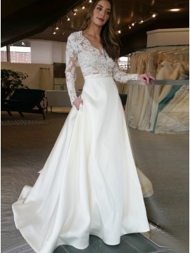 A-Line V-Neck Long Sleeves Satin Wedding Dress with Lace Pockets