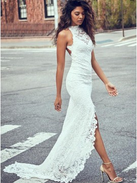 Mermaid Sweep Train Open Back Slit Leg Lace Wedding Dress