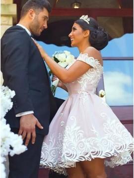 A-Line Off-the-Shoulder Short Blush Satin Wedding Dress with Appliques