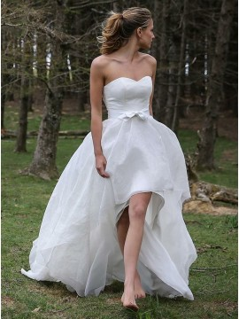 High Low Sweetheart Organza Appliques Beach Wedding Dress with Sashes