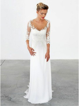 A-Line Illusion Scoop 3/4 Sleeves Chiffon Wedding Dress with Appliques