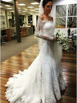 Mermaid Off-the-Shoulder Long Sleeves Lace Appliques Wedding Dress