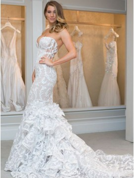 Mermaid Sweetheart Court Train Tiered Lace Sexy Wedding Dress