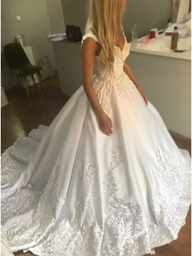 Ball Gown V-Neck Sweep Train White Satin Wedding Dress with Appliques