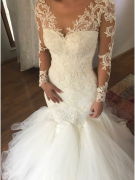 Mermaid Scoop Long Sleeves Court Train Wedding Dress With Appliques Beading