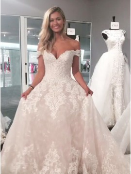 A-Line Off-the-Shoulder Lace Gorgeous Wedding Dress with Appliques