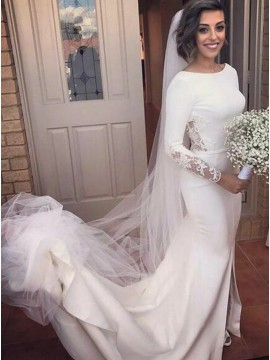 Mermaid Bateau Backless Long Sleeves Slit Leg Wedding Dress with Lace