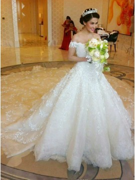 Ball Gown Off Shoulder Chapel Train Lace Wedding Dress with Beading Appliques