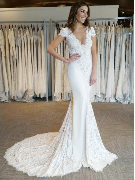 Elegant Mermaid Scalloped-Edge Cap Sleeves Backless Wedding Dress with Lace