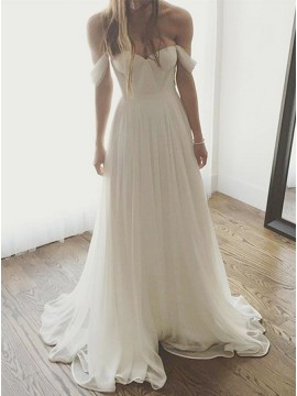 A-Line Off-the-Shoulder White Chiffon Simple Wedding Dress with Pleats