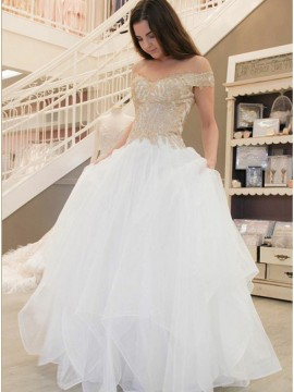 A-Line Off-the-Shoulder Tiered Tulle Wedding Dress with Appliques