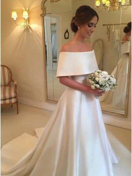 A-Line Off-the-Shoulder Sweep Train Satin Wedding Dress with Ruffle