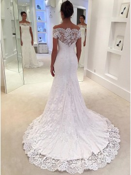 Mermaid Off-the-Shoulder Court Train Gorgeous Lace Wedding Dress
