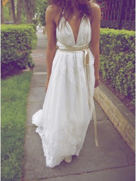 A-Line Deep V-Neck Backless Sexy Wedding Dress with Lace Sashes