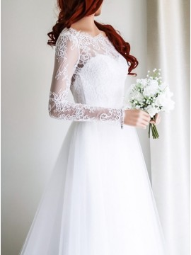 A-line Bateau Long Sleeves Decent White Tulle Wedding Dress with Lace