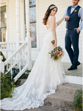 Mermaid V-neck Backless Court Train Ivory Sexy Lace Wedding Dress