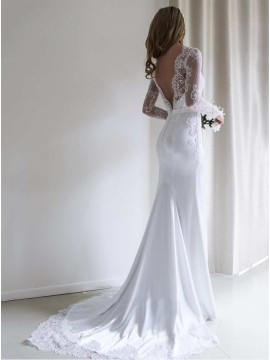Mermaid Long Sleeves White Backless Wedding Dress with Lace