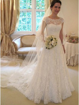 A-line Cap Sleeves Elegant White Lace Long Wedding Dress with Sashes