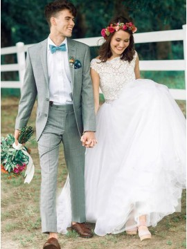 A-line Bateau Cap Sleeves Backless Wedding Dress with Lace Beading