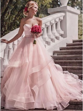 A-line Sweetheart Tiered Pink Long Wedding Dress with Sashes