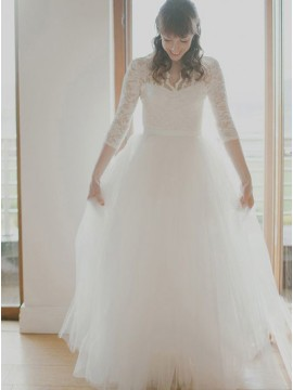 A-line V-Neck Three Quarter Lace Sleeves Long Tulle Wedding Dress