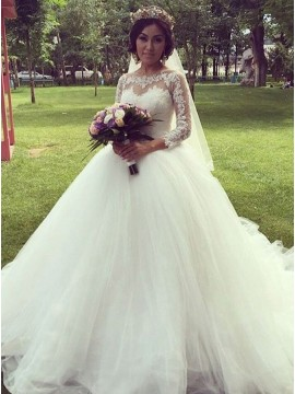 A-line Illusion Round 3/4 Sleeves White Long Wedding Dress with Appliques