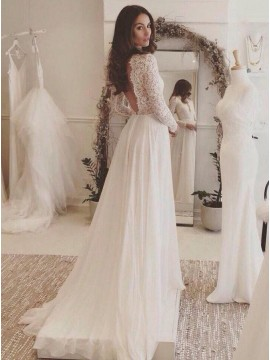 A-line V-neck Long Sleeves Simple Wedding Dress with Lace Top