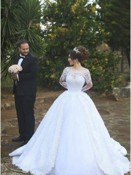 Ball Gown Off-the-Shoulder Long Sleeves White Wedding Dress with Pleats