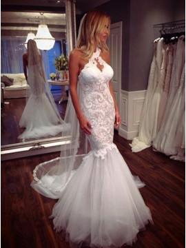 Mermaid Round Neck Keyhole Gorgeous Wedding Dress with Lace