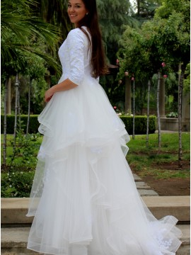 A-line Half Sleeves Tiered Beach Wedding Dress with Lace Appliques