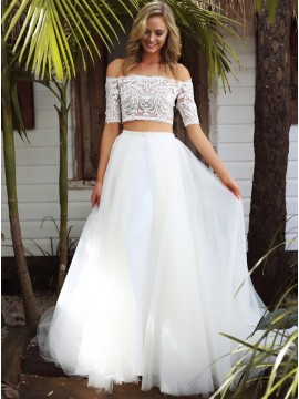 Two Piece Off-the-Shoulder Half Sleeves Beach Wedding Dress with Lace