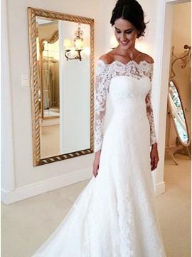 Sheath Off-the-Shoulder Court Train Decent Lace Wedding Dress