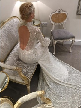 Mermaid High Neck Long Sleeves Court Train Open Back Sequined Wedding Dress