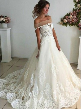 A-Line Off-the-Shoulder Sweep Train White Wedding Dress with Appliques