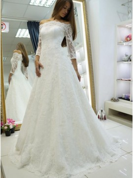 A-Line Off-the-Shoulder Long Sleeves Sweep Train White Lace Wedding Dress