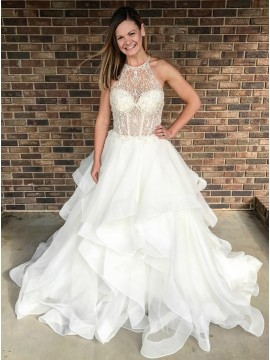 A-Line Crew Sweep Train White Tiered Wedding Dress with Lace