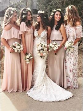 Mermaid V-Neck Sleeveless Sweep Train White Lace Wedding Dress