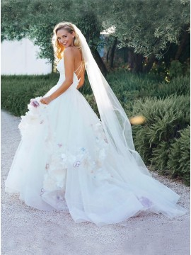 A-Line V-Neck Criss-Cross Straps Sweep Train White Wedding Dress with Appliques