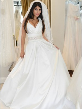 A-Line V-Neck Sweep Train White Satin Wedding Dress with Beading