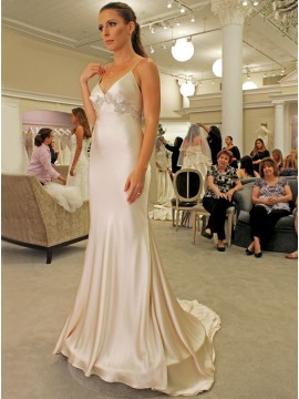 Mermaid Spaghetti Straps Sweep Train Light Champagne Wedding Dress with Appliques