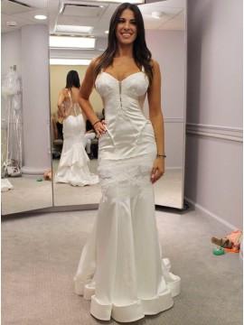 Mermaid Spaghetti Straps Sweep Train White Satin Wedding Dress with Appliques